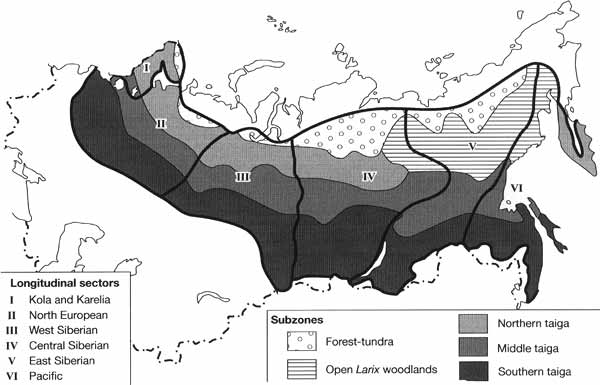 Subzones and longitudinal sectors within the taiga zone